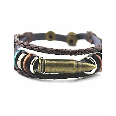 Men's Women's Layered Bracelet Bangles Wrap Bracelet Leather Bracelet - Leather, Titanium Steel, Silver Plated Geometric, Classic, Vintage Bracelet Gold / Silver For Christmas Party Halloween
