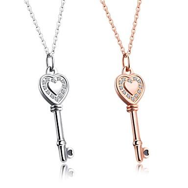 Női Luxus Szív Kocka cirkónia Nyaklánc medálok  -  Luxus Szerelem Nyilatkozat Tube Shape Ezüst Vörös arany Nyakláncok Kompatibilitás