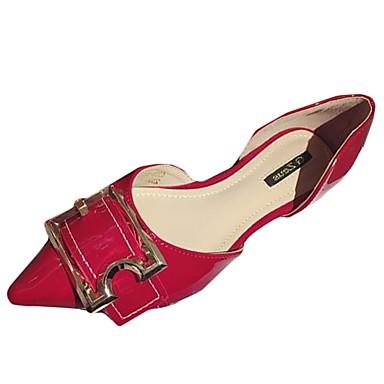 Női Cipő PU Nyár Kényelmes Lapos Lapos Erősített lábujj Fekete / Piros
