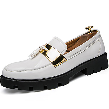 Men's Formal Shoes Patent Leather Fall / Winter British Loafers & Slip-Ons White / Black / Blue / Party & Evening