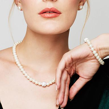 Damen Perle Diamantimitate Schmuckset Ketten- & Glieder-Armbänder Perlenkette  -  Brautkleidung Elegant Modisch Kreisform Schmuck Weiß