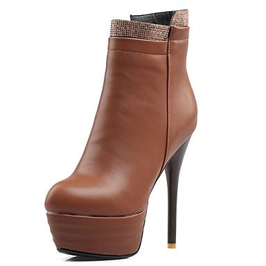 Damen Schuhe Kunstleder Herbst Winter Modische Stiefel Stiefel Walking Stöckelabsatz Spitze Zehe Booties / Stiefeletten Mit Reißverschluss