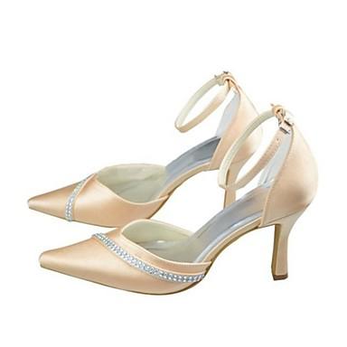 Escarpin Elastique Aiguille 06118111 Satin Femme pointu Chaussures Champagne Talon mariage Printemps Eté Cristal Basique Bout Chaussures de WaXnqAFnE