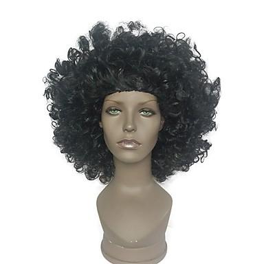 Szintetikus parókák Kinky Curly Sűrűség Fekete Jelmez paróka Rövid Szintetikus haj