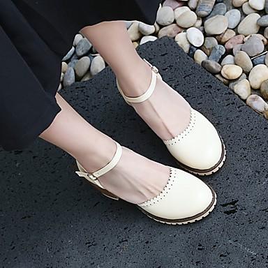 Damen Schuhe PU Frühling Sommer Komfort Sandalen Blockabsatz Runde Zehe Für Normal Weiß Schwarz Gelb