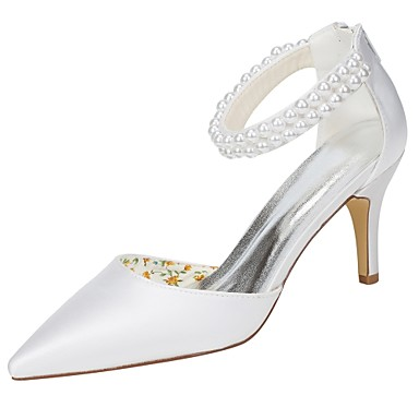 Women's Shoes Stretch Satin Spring / Summer Basic Pump Wedding Shoes Stiletto Heel Pointed Toe Pearl White / Party & Evening