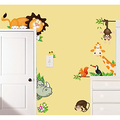 Tiere Blumenmuster/Botanisch Cartoon Design Wand-Sticker Flugzeug-Wand Sticker Dekorative Wand Sticker Stoff Haus Dekoration Wandtattoo