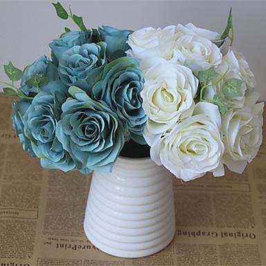1 Ast Kunststoff Rosen Hortensie Tisch-Blumen Künstliche Blumen