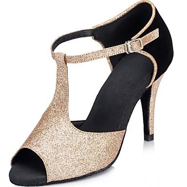 Női Latin cipők Glitter Szandál Glitter Tűsarok Személyre szabható Dance Shoes Fekete és arany / Teljesítmény / Bőr