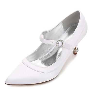 Női Cipő Szatén Tavasz / Nyár Magasított talpú / Kényelmes Esküvői cipők Cicasarok / Magas / Alacsony Erősített lábujj Strasszkő /