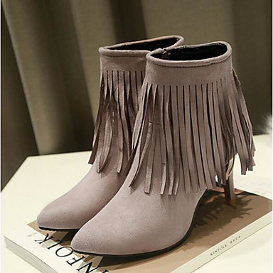 Damen Schuhe PU Herbst Komfort High Heels Für Normal Schwarz Grau Rot Blau Rosa