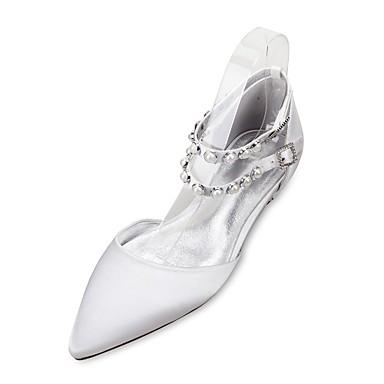 Női Cipő Szatén Tavasz / Nyár Kényelmes / Mary Jane / D'Orsay és kétrészes Esküvői cipők Lapos Erősített lábujj Gyöngy / Hamis gyöngy Kék / Világosbarna / Kristály / Party és Estélyi