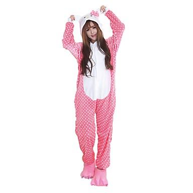 Kigurumi-Pyjamas mit Hausschuhen Katze Pyjamas-Einteiler Kostüm Flanell Rosa Cosplay Für Erwachsene Tiernachtwäsche Karikatur Halloween