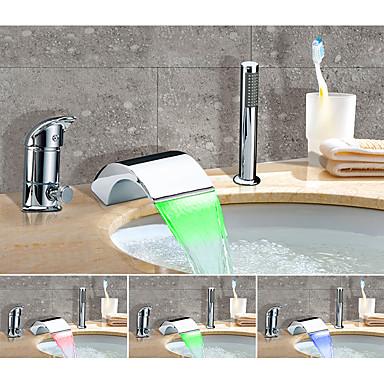 Bathtub Faucet - Color Changing / Artistic Chrome Widespread Ceramic Valve