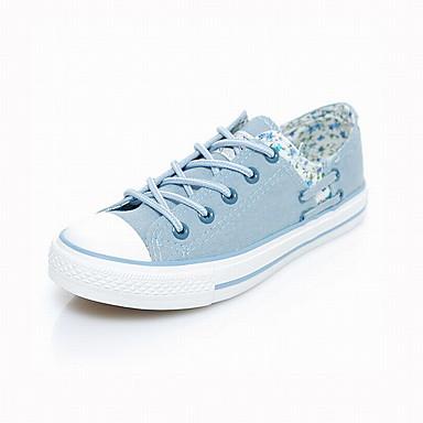 Marine Toile Plat Automne Chaussures Bout Confort Bleu Femme APBqdwXAx