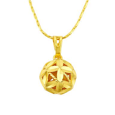Női Luxus Leaf Shape Virág Arannyal bevont Nyaklánc medálok Nyakláncok  -  Luxus Alap Divat Kör Arany Nyakláncok Kompatibilitás Esküvő