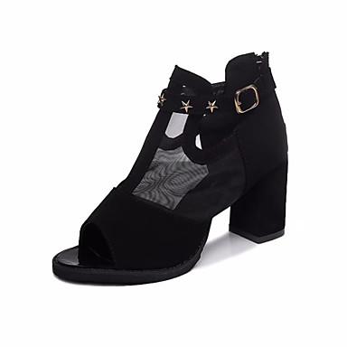 Damen Schuhe PU Sommer Komfort Sandalen Walking Block Ferse Runde Zehe Mit Besatz für Normal Kleid Schwarz