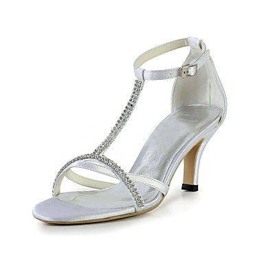 Women's Shoes Stretch Satin Summer Basic Pump Wedding Shoes Stiletto Heel Open Toe Crystal White / Party & Evening