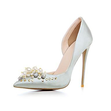 Damen Schuhe Echtes Leder Herbst Winter Pumps High Heels Spitze Zehe Imitationsperle Für Normal Schwarz Silber Champagner