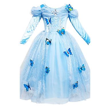 لفتاة فستان سادة ورد مطرز قطن رايون بوليستر كل الفصول كم طويل زهري أزرق فاتح