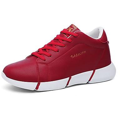 Damen Schuhe PVC Leder Sommer Komfort Sneakers Flacher Absatz Runde Zehe Schnürsenkel für Normal Kleid Weiß Schwarz Rot