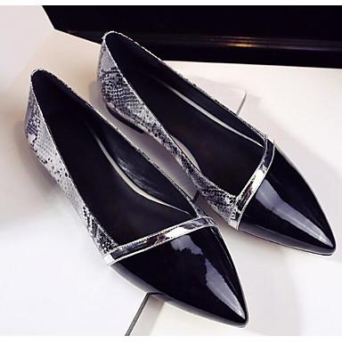 Damen Schuhe Echtes Leder PU Frühling Komfort Flache Schuhe Für Normal Schwarz Silber