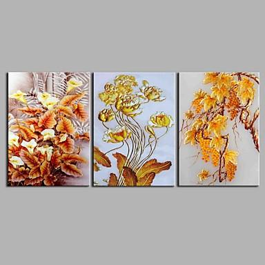 Hang festett olajfestmény Kézzel festett - Virágos / Botanikus Antik / Művészi / Absztrakt Vászon / Nyújtott vászon