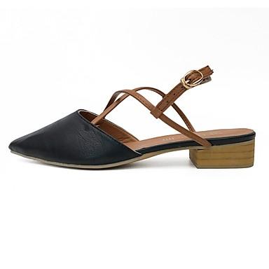 Damen Schuhe PU Sommer Komfort Sandalen Walking Flacher Absatz Spitze Zehe für Normal Weiß Schwarz Mandelfarben