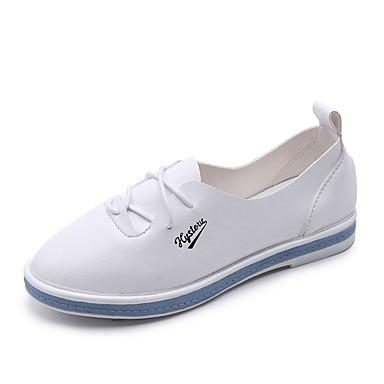 Damen Sneaker Komfort Lackleder Frühling Sommer Normal Walking Schnürsenkel Flacher Absatz Weiß Rosa Unter 2,5 cm