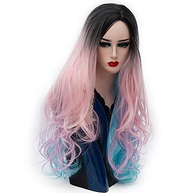 Szintetikus parókák Természetes hullám Szintetikus haj Ombre haj Kék Paróka Női Hosszú Sapka nélküli Rózsaszín