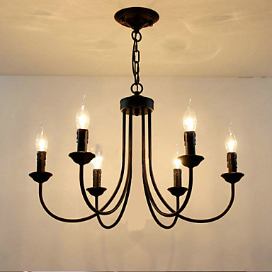 6-Light Candle-style Chandelier Ambient Light Painted Finishes Metal Candle Style 110-120V / 220-240V Bulb Not Included / E12 / E14