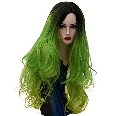 povoljno Perike i ekstenzije-Sintetičke perike Prirodne kovrče Stil Capless Perika Zelena Sintentička kosa Žene Ombre Zelena Perika Dug