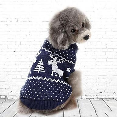 Cica / Kutya Pulóver Kutyaruházat Egyszínű Piros / Kék Elasztikus Jelmez Háziállatok számára Party / Casual / hétköznapi / Karácsony