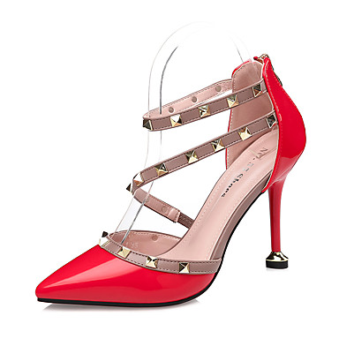 Rose Similicuir Gris Confort dragée Automne clair Chaussures 06258631 Rouge Rivet Aiguille Chaussures pointu Talon Femme Bout à Talons Habillé 6x7tSn5Fqw
