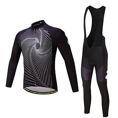 Férfi Hosszú ujj Kerékpáros dzsörzé kantáros nadrággal - Fehér / Fekete Bike Ruházati kollekciók, 3D-s párna, Gyors szárítás Poliészter,