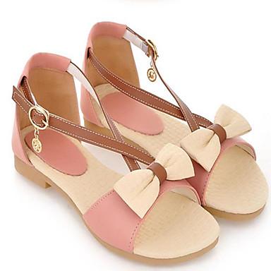 Damen Schuhe PU Frühling Sommer Komfort Flache Schuhe Flacher Absatz Offene Spitze Für Normal Beige Blau Rosa