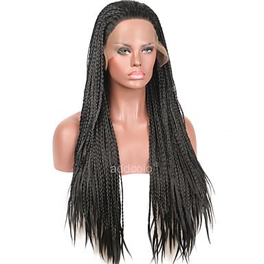 Synthetische Perücken Kinky Curly Afrikanische Zöpfe Geflochtene Perücke Damen Spitzenfront Natürliche Perücke Synthetische Haare