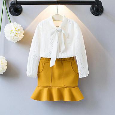 4d8eb95e5 مجموعة ملابس كم طويل بقع دانتيل / كشكش للفتيات طفل صغير