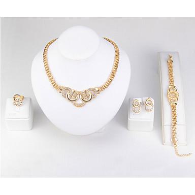Női Szintetikus gyémánt Hamis gyémánt Ékszer szett - Klasszikus / minimalista stílusú Circle Shape Arany Gyűrű / Karkötő / Nyaklánc