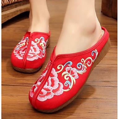 Damen Schuhe Stoff Sommer Komfort Slippers & Flip-Flops Für Normal Schwarz Rot Blau