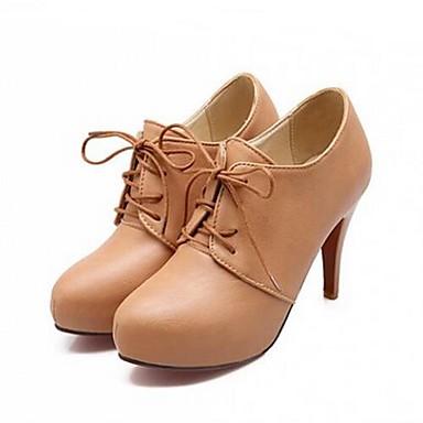 Damen High Heels Komfort Herbst PU Normal Schwarz Beige Mandelfarben 10 - 12 cm
