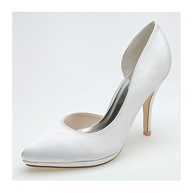 Women's Satin Spring / Summer Formal Shoes Wedding Shoes Stiletto Heel Pointed Toe Silver / Ivory / Party & Evening