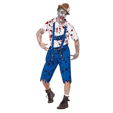 Cosplay Kostüme Zombie Cosplay Fest/Feiertage Halloween Kostüme Vintage Top Hosen Mützen Halloween Karneval Mann Unisex Elastan