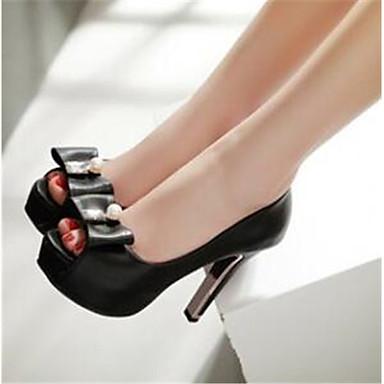 Damen Schuhe PU Frühling Sommer Komfort High Heels Für Normal Weiß Schwarz Rosa