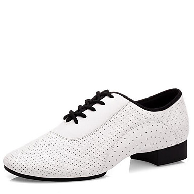 Bărbați Pantofi Dans Latin Nappa Leather Călcâi Toc Jos Pantofi de dans Alb / Interior