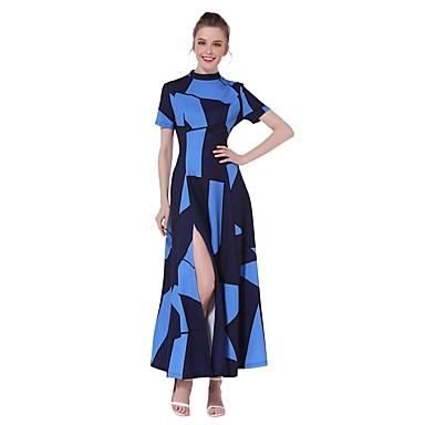 Damen A-Linie Kleid-Party Ausgehen Lässig/Alltäglich Einfach Street Schick Einfarbig Ständer Maxi Kurzarm Baumwolle PolyesterSommer