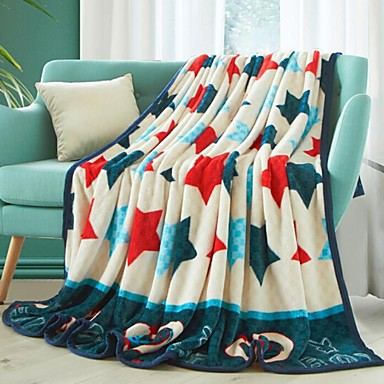 Coral fleece, Printed Stars Polyester/Cotton Blend Blankets