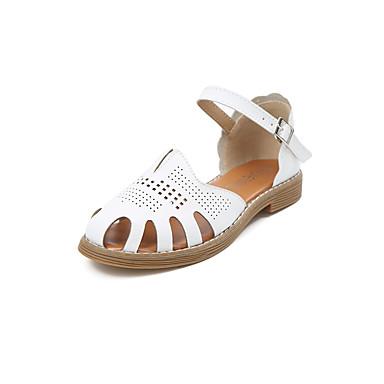 Damen Sandalen Komfort Sommer Gummi Walking Schnalle Block Ferse Weiß Schwarz Beige Unter 2,5 cm