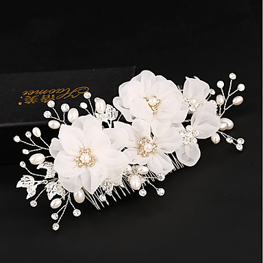 Tulle Imitation Pearl Silk Hair Combs Flowers Hair Clip With
