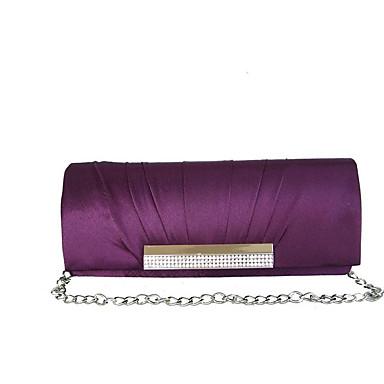 Women Bags Silk Evening Bag Rhinestone Pleated for Wedding Fall All Seasons Red Violet